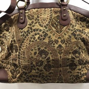 J JILL TAPESTRY LEATHER TRIMMED TOTE BAG